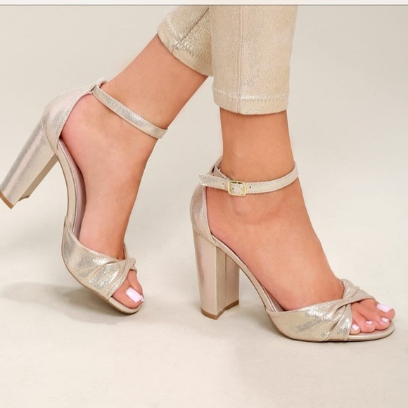 f6e5f9192 CARLY GOLD ANKLE STRAP HEELS